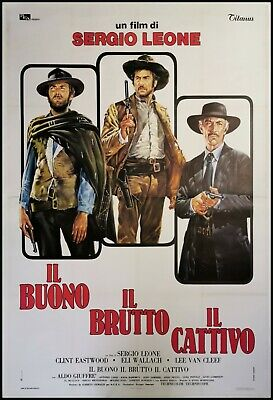 """good the bad and the ugly original movie poster 55x78"""" italian linen backed leone"""