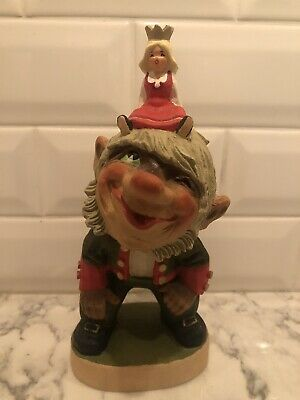 Henning Norway Handcarved Wood Troll With Princess 8.5 Inches Tall