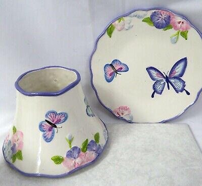 A1 Purple Floral Butterfly Ceramic Lamp Shade Plate Set Made 4 Yankee Candle