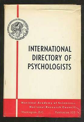 Eugene H Jacobson / International Directory Of Psychologists Exclusive 1958