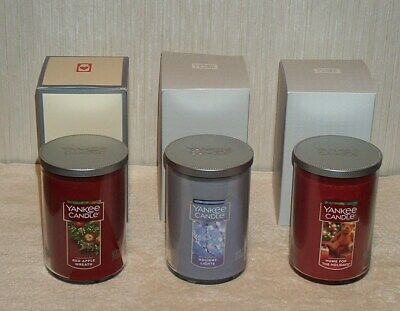 3 Yankee Candle Lg Tumblers 22oz Red Apple Wreath, Holiday Lights, Home Holidays