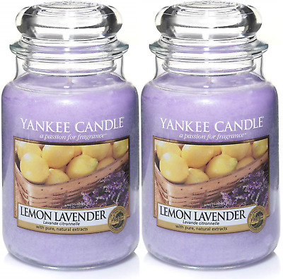 Yankee Candle Scented Candle Aroma Fresh Lemon Lavender Large Jar 22oz Set Of 2