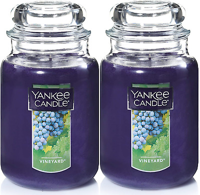 Yankee Candle Large Jar Scented Candle Refreshing Aroma Vineyard 22oz Set Of 2
