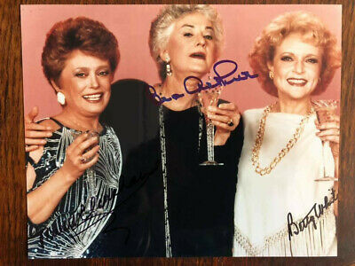 Golden Girls Autographed Photo Bea Arthur Rue Mcclanahan Betty White Signed By 3