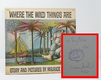 Maurice Sendak - Where The Wild Things Are - Signed W/ Drawing Of A Wild Thing