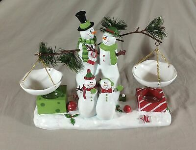 Yankee Candle Vintage Snowman Family Votives & Wax Melts Holder New In Box
