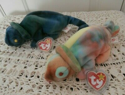 Ty Beanie Babies Rainbow The Chameleon Errors 1st & 2nd Variation Retired