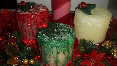 "Festive 4x4"" Pillar Candles W/ Drizzle~glitter~hollyberry U Pick Color"
