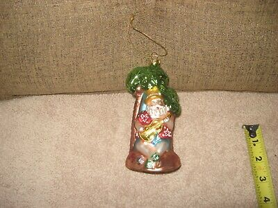 Kurt Adler Santa On Vacation Glass Ornament Hawaiian Island Palm Tree Polonaise