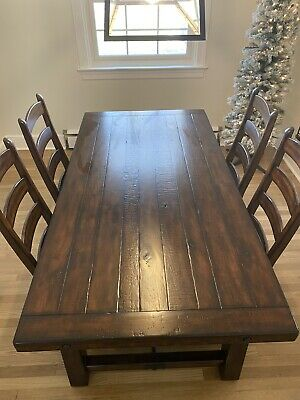 Pottery Barn Dining Set Benchwright Dining Table & 4 Wynn Ladderback Side Chairs