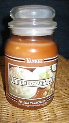 Super Rare Yankee Candle White Chocolate Mint 22 Ounce Jar Candle Black Band