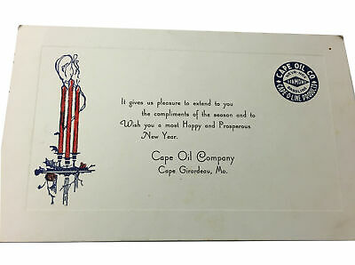 Vintage Holiday Greeting Card Cape Oil Company, Cape Girardeau, Mo New