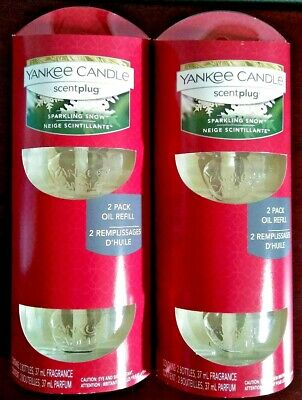 Yankee Candle Sparkling Snow Plug Home Winter Fragrance Oil Electric Refills Lot