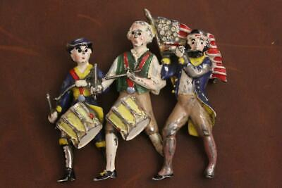 Vintage Wwii Era Yankee Doodle Enameled Pin Drum And Fife - Free Shipping-nr