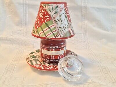 Yankee Candle * Retired * Christmas Quilt Shade Tray Cranberry Peppermint Jar *