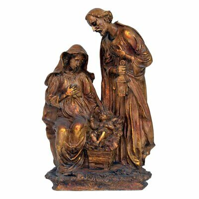 Nativity Scene Mary Joseph Baby Jesus Hand Painted Faux Wood Look Copper Gold