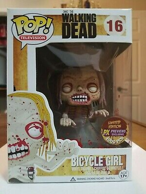 Funko Pop The Walking Dead Bloody Bicycle Girl #16 Sdcc Px Exclusive Le 1000 Pcs