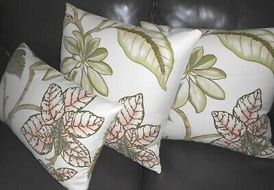 Thibaut Fabric Throw Pillow Covers Cotton Linen Printed Floral New Set Of 3