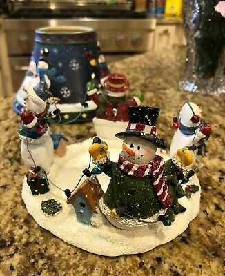 Yankee Candle Ceramic Porcelain Holder And Blue Snowman Jar Candle Shade