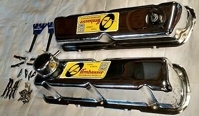 Tall Chrome Valve Covers For Small Block Ford, With Offenhauser Dual Port Decals