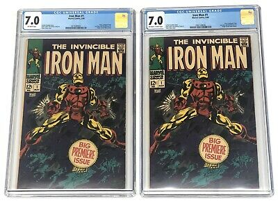 Marvel Comics Invincible Iron Man 1 Cgc 7.0 Fn / Vf Origin Retold 1968 X2 Issues