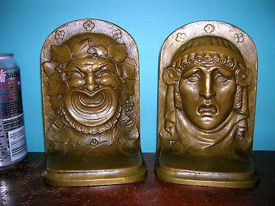 Antique Gorham Comedy Tragedy Theater Masks Bookends Solid Bronze, Exc Condition