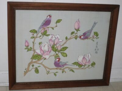 Signed Art Asian Oriental Chinese-japanese Exotic Birds Floral Framed Painting