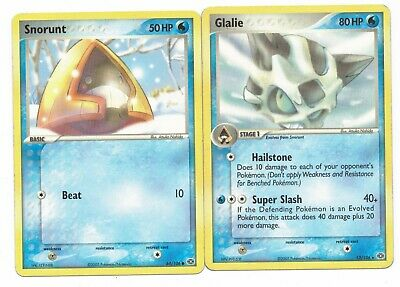 Pokemon Cards: Glalie 13/106 & Snorunt 64/106 EX Emerald Evolution Set Rare!