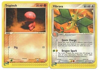 Pokemon Cards: Vibrava 22/97 & Trapinch 78/97 EX Dragon E-Readers Rare! PL