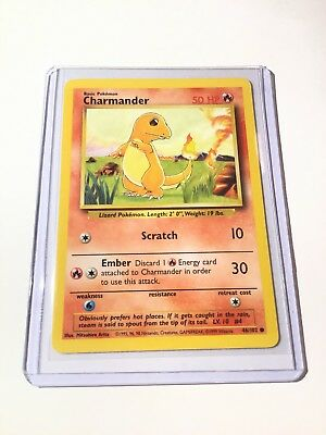 CHARMANDER - Base Set - 46/102 - Common - Pokemon Card - Unlimited Edition LP