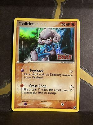 Meditite 55/108 Reverse Holo Stamped EX Power Keepers Pokemon Card NM/LP