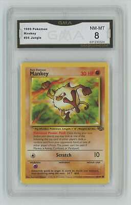 1999 Pokemon Jungle Unlimited #55 Mankey Graded GMA 8 Nm-Mt Z8