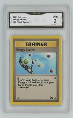 1999 Pokemon Fossil Unlimited #59 Energy Search GMA 9 Mint P11