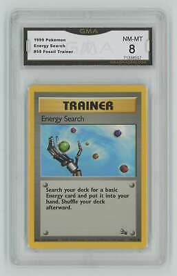 1999 Pokemon Unlimited Fossil #59 Energy Search Graded GMA 8 Nm-Mt S1