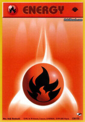 1x Fire Energy - 128/132 - Common - 1st Edition NM-Mint Pokemon G1 - Gym Heroes