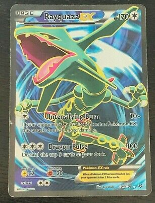 FULL ART Rayquaza EX ULTRA RARE 104/108 Pokemon XY Roaring Skies Holo