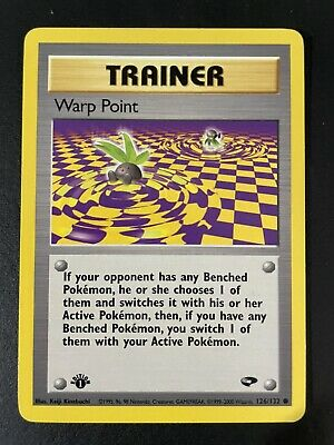 1st Edition Warp Point 126/132 Gym Challenge - Common Pokemon Card NM PSA Ready