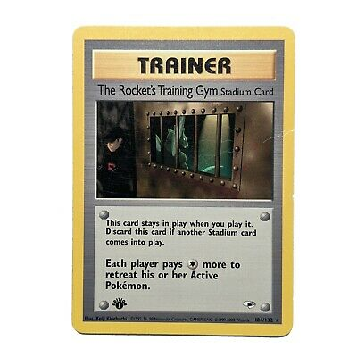 The Rocket's Training Gym 104/132 First 1st Edition Pokemon TCG Card Gym Heroes