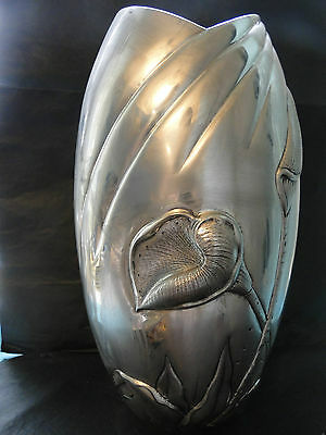 A Tall Vase Art Nouveau With Flowers Chased  Sterling Silver 800 C. 1960 Italy