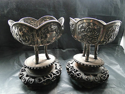 Chinese Pair Of Bowl On Wooden Stand Sterling Silver Marked C.1890