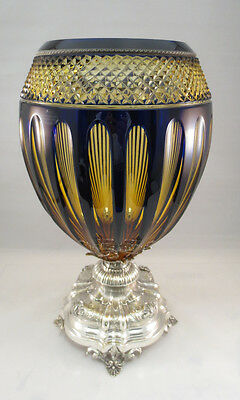 Sterling Silver Unique Tall Large Crystal Vase Blue Yellow Floral Glass 925 Nice