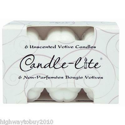 (36) Ea Candle Lite # 1601595 6 Packs White Unscented Food Warmer Votive Candles