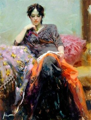 """Pino Giclee On Canvas Hand Signed/# """"her Favorite Book"""" Reading  Pcoa 40x30"""