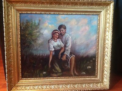 "Antique Romantic  Russian Oil Painting 1860/1916 Sign By The Artist "" ""tkachenko"