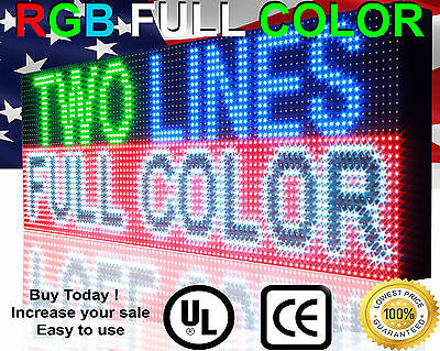 """12"""" X 101"""" Fll Color 10mm Virtual Led Sign Programmable Digital Indoor Text Open"""