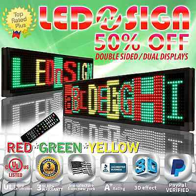 """Led Sign: 3col-rgy/ir/2f 15""""x91"""" Programmable Scrolling Display Readerboard Sign"""
