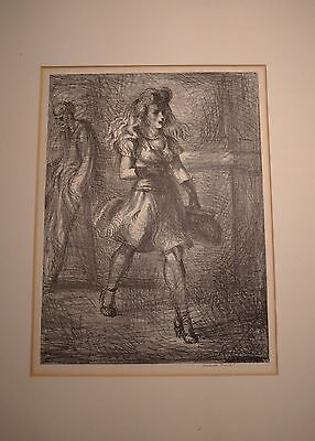 """""""girl Walking"""" Signed Lithograph By Reginald Marsh"""