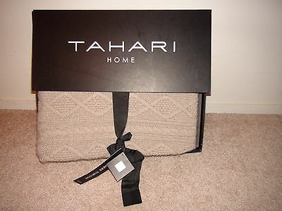 """Tahari Home Cashmere Wool Blend Taupe Cable Knit Throw Blanket Nib 50"""" X 60"""""""