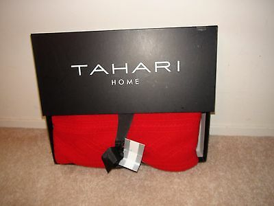 """Tahari Home Cashmere Wool Blend Red Cable Knit Throw Blanket Nib 50""""x 60"""""""
