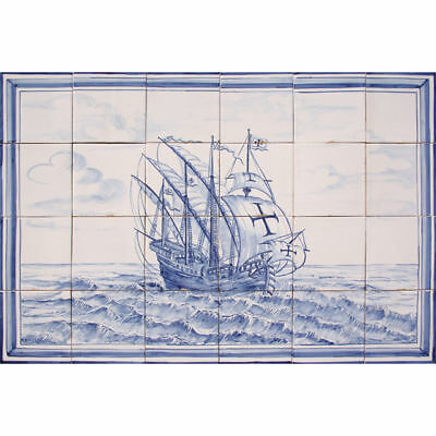 Portuguese Painted Clay Azulejos Tiles Mural Panel Blue Nautical Vessel Caravel